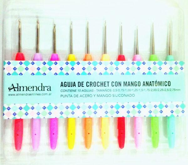 1354f6b6efc76 ALMENDRA – SET DE CROCHET MANGO ANATOMICO – 10 AGUJAS MEDIDAS SURTIDAS.  Categorías  Agujas y accesorios ...